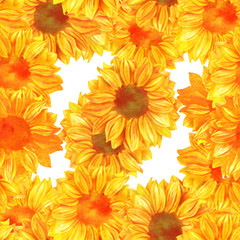 Seamless pattern with toned watercolor sunflowers