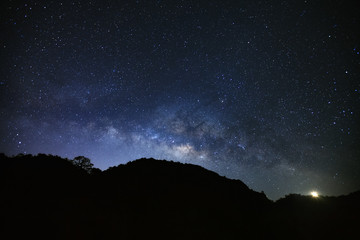 milky way galaxy at Doi Luang Chiang Dao mountain, Long exposure photograph, with grain