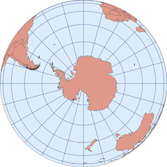 South Pole antarctica earth globe vector map
