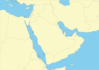 Vector map of Arabian peninsula or Arabia