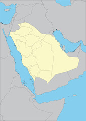 Vector map of Saudi Arabia