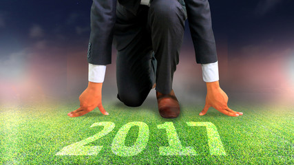Man start business plan in 2017. business vision concept, goal of 2017