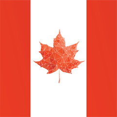 Canada flag with low poly maple leaf