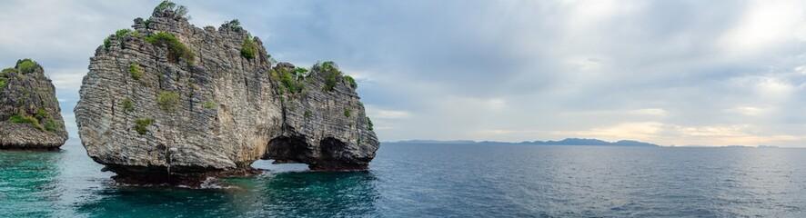 Panorama of The Sea and Mountain at Koh ha, Similan No.5, a Group of Similan Islands in The Andaman Sea Thailand.