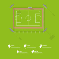 Top view of football stadium or soccer arena. Sport venue in flat design. Infographic and sport icon set. Vector