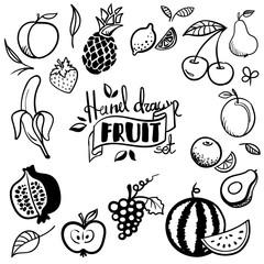 Hand drawn fruits set. Cherry, avocado, orange, lemon, apple, grape