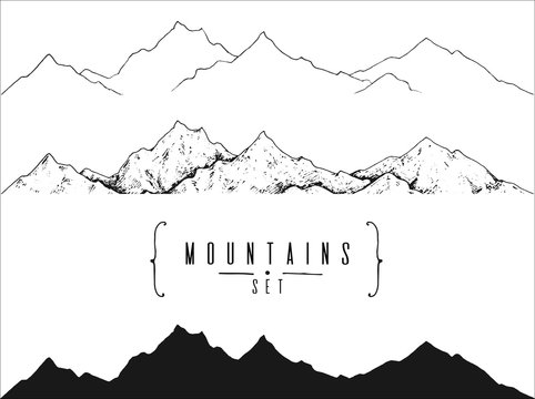 set of hand drawn landscape with moutain peaks: outline, contour and silhouette. template for your design