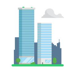 City skyscrapers on urban background flat design