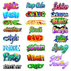 Stylish Graffiti word text label