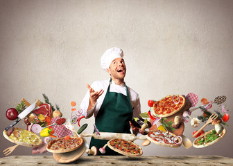Wall Mural - Pizza with different tastes with vegetables, cooking