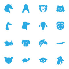 Set Of 16 Brute Icons Set.Collection Of Owl, Hog, Bird And Other Elements.
