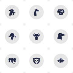 Set Of 9 Brute Icons Set.Collection Of Camelopard, Bishop, Rooster And Other Elements.