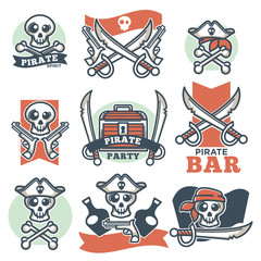 Pirate spirit logo emblems vector poster on white