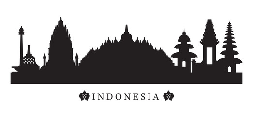 Indonesia Landmarks Skyline in Black and White Silhouette, Cityscape, Travel and Tourist Attraction