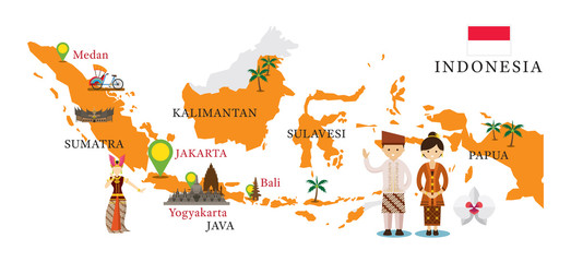Indonesia Map and Landmarks with People in Traditional Clothing, Culture, Travel and Tourist Attraction Wall mural