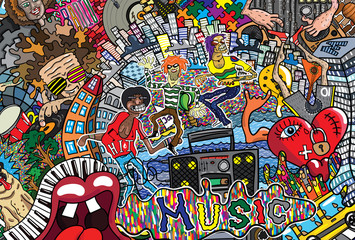 Music collage on a large brick wall, graffiti