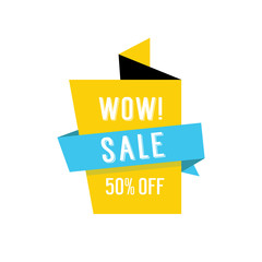 Wow Sale Fifty Percent Off Origami Banner