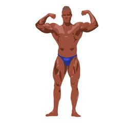 Bodybuilder posing, abstract vector illustration