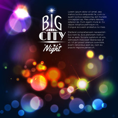 Abstract city background with bokeh lights. Vector illustration