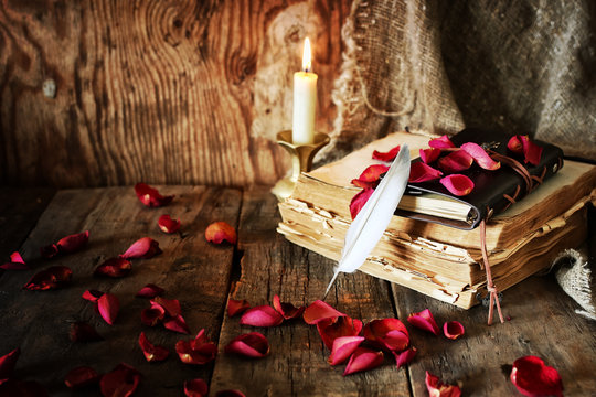 book pen candle romance