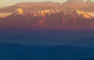 Trishul peak in Surise in the Himalayas. Elevation 7,120 Meter