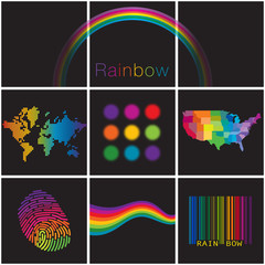 A colorful diverse selection of creative rainbows for print or web