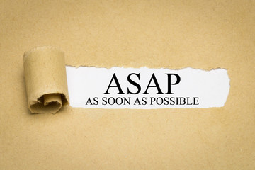 ASAP (As Soon As Possible)