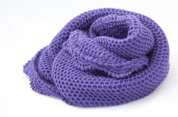 Beautiful knitted scarf (snug) on white background