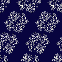 Vegetable seamless Paisley pattern. Vector abstract pattern of wreaths with items of Paisley, leaves and flowers.