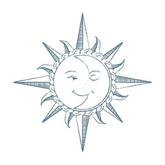 Vintage style hand drawn Sun and Moon.  Alchemy symbol. Tattoo design.Vector illustration.