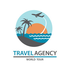 abstract travel logo with aircraft and ocean