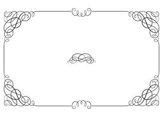 Black rectangular ornate border with vignette corners. Vignette, text divider, header.