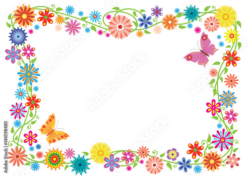 Summer frame formed of fancy flowers and butterflies. No background ...