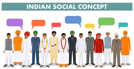 Social concept. Group indian people standing together and speech bubbles in different traditional national clothes on white background in flat style. Vector illustration.