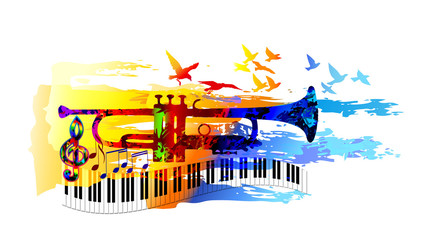 Colorful music background, banner with trumpet, piano and birds