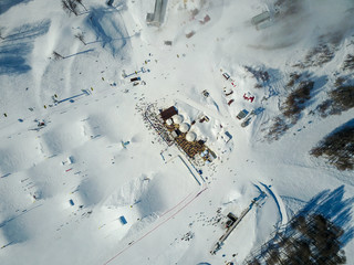 The skiing festival NewStarCamp in Sochi, Rosa Khutor. Aerial view