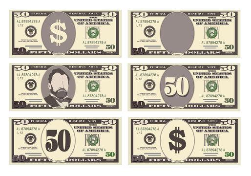 USA banking currency, cash symbol 50 dollars bill.