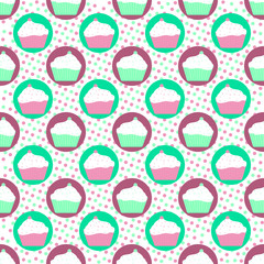 mint and violet cakes pattern