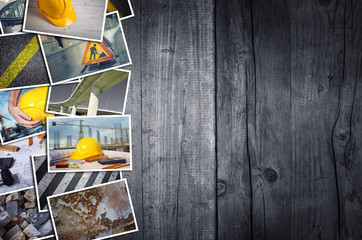 Construction photo collage on wooden background