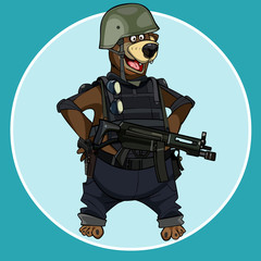 Printed roller blinds Military cartoon bear standing with arms akimbo in body armor with weapons