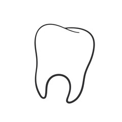 Vector illustration. Hand drawn doodle of human tooth. Oral hygiene symbol. Cartoon sketch. Decoration for greeting cards, posters, emblems, wallpapers, banners
