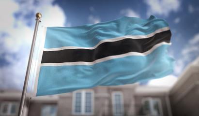 Botswana Flag 3D Rendering on Blue Sky Building Background
