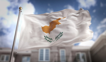 Cyprus Flag 3D Rendering on Blue Sky Building Background