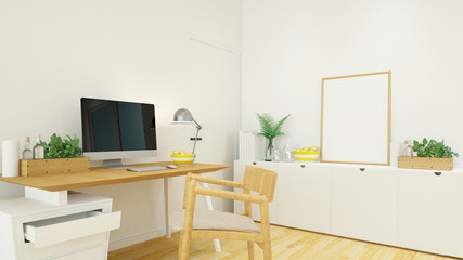 workplace in house or office - 3D Rendering