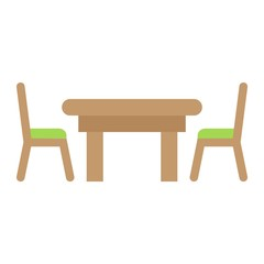 Dining table flat icon, Furniture and interior element, vector graphics, a colorful solid pattern on a white background, eps 10.