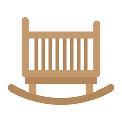 Cradle flat icon, Furniture and interior element, vector graphics, a colorful solid pattern on a white background, eps 10.