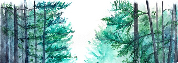 Spoed Fotobehang Aquarel Natuur Watercolor turquoise winter wood forest pine landscape