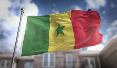 Senegal Flag 3D Rendering on Blue Sky Building Background