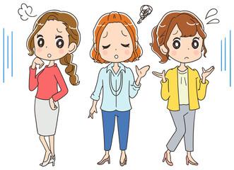 困っている女性(オフィスカジュアル)のイラスト