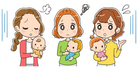 悩んでいるお母さんのイラスト